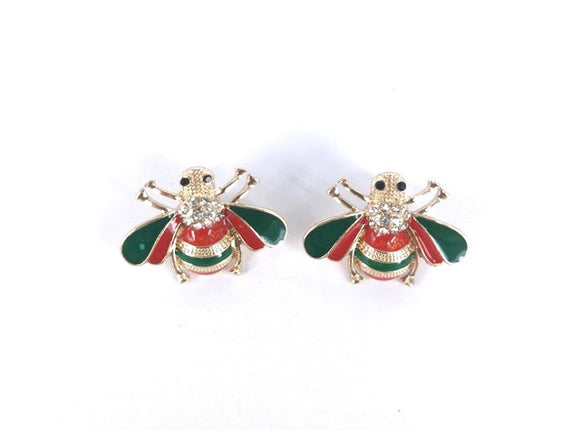 GOLD RED GREEN BEE EARRINGS ( 4100 GDGRRD )
