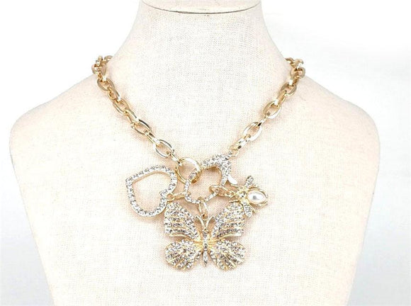 GOLD NECKLACE SET BUTTERFLY HEART CLEAR STONES ( 2674 ) - Ohmyjewelry.com