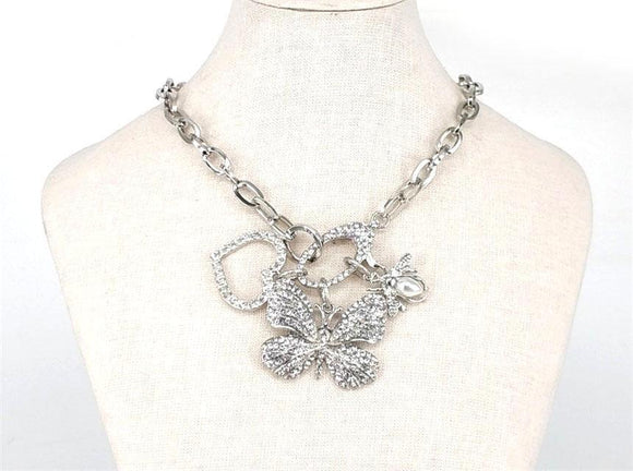 SILVER NECKLACE SET BUTTERFLY HEART CLEAR STONES ( 2674 )
