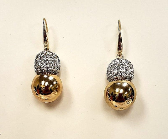 GOLD EARRINGS CLEAR STONES BALLS ( 10032 G )