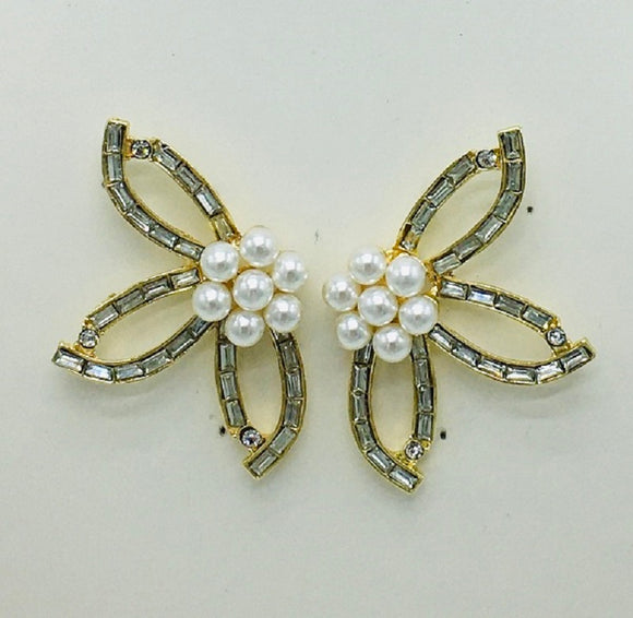 GOLD EARRINGS CLEAR STONES CREAM PEARLS ( 10048 )