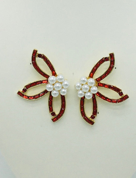GOLD EARRINGS RED STONES PEARLS ( 10048 )