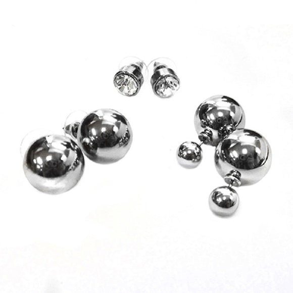 3 EARRING SET PEARLS AND CLEAR RHINESTONE ( 1126 )