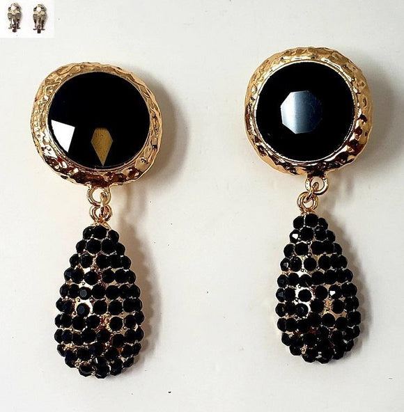 GOLD BLACK METAL EARRINGS CLIP ON ( 20001 )