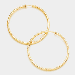 "3.2"" Gold Diamond Cut Clip On Hoop Earrings ( 235 L )"