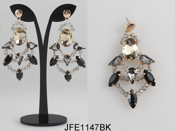 BLACK AND GOLD CRYSTAL CHANDELIER EARRINGS ( 1147 )