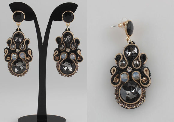 BLACK AND GOLD SOUTACHE EARRINGS ( 1153 )
