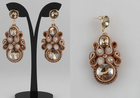BROWN AND GOLD SOUTACHE EARRINGS ( 1153 )