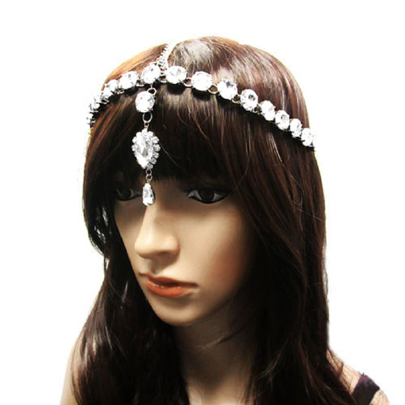 SILVER HEAD CHAIN WITH CLEAR RHINESTONES ( 1012 )