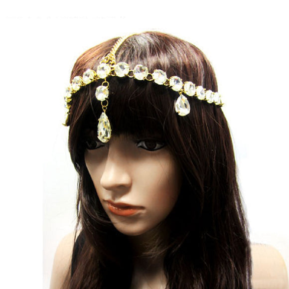 GOLD HEAD CHAIN WITH CLEAR RHINESTONES ( 1013 )