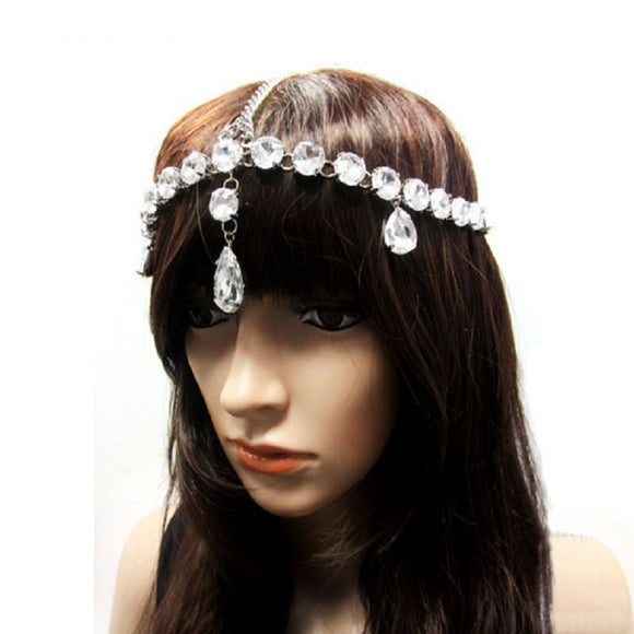 SILVER HEAD CHAIN WITH CLEAR RHINESTONES ( 1013 )