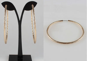 70mm Gold Diamond Cut Hoop Earrings