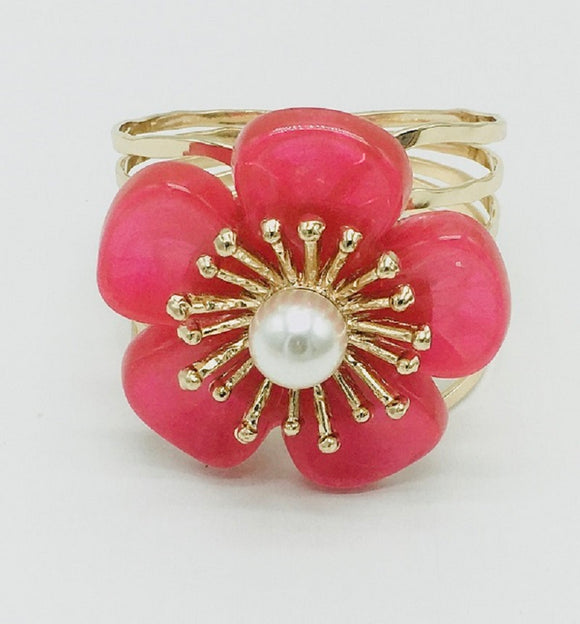 GOLD BANGLE WITH RED FLOWER ( 7002 )