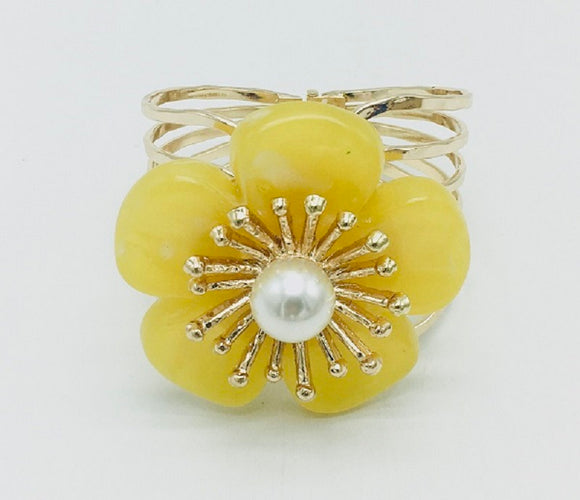 GOLD BANGLE WITH YELLOW FLOWER ( 7002 )