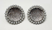 SILVER ROUND EARRINGS WHITE PEARLS CLIP ON ( 003 )