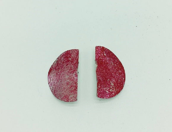SILVER RED HAMMERED CLIP ON EARRINGS ( 006 )