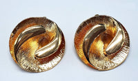 GOLD CLIP ON EARRINGS SWIRL DESIGN ( 012 )