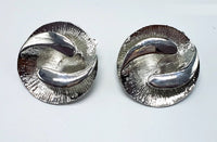 SILVER CLIP ON EARRINGS SWIRL DESIGN ( 012 )