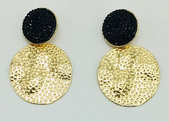 GOLD BLACK STONE CIRCLE HAMMERED CLIP ON EARRINGS ( 068 )