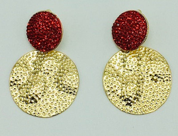GOLD RED STONE CIRCLE HAMMERED CLIP ON EARRINGS ( 068 )