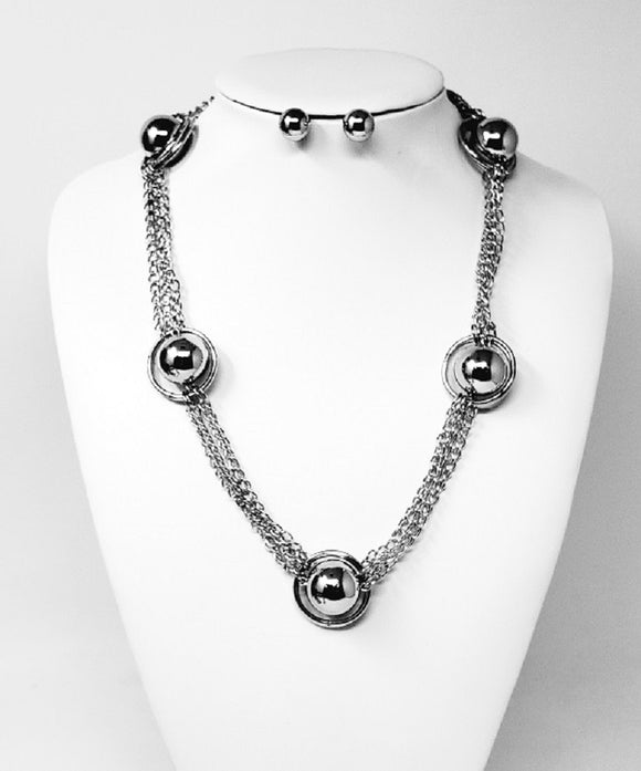 SILVER NECKLACE SET BALLS RINGS ( 1131 R )