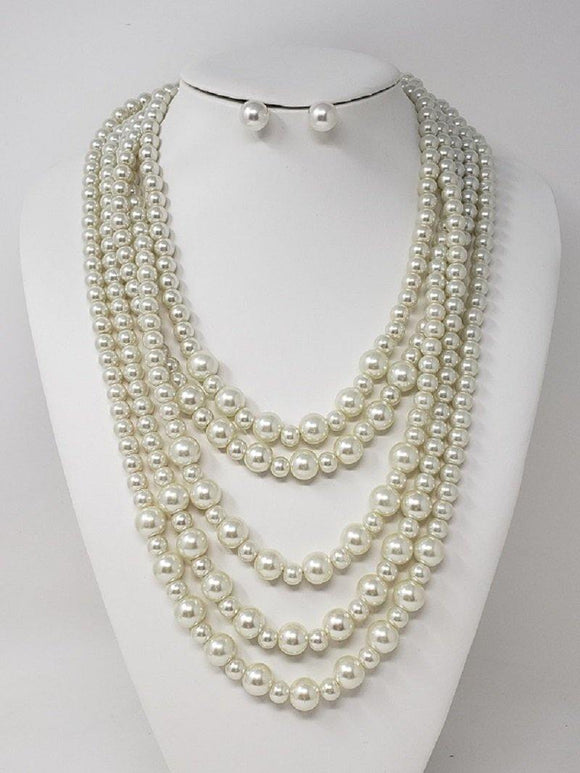 GOLD CREAM PEARL NECKLACE SET ( 3128 GCR )