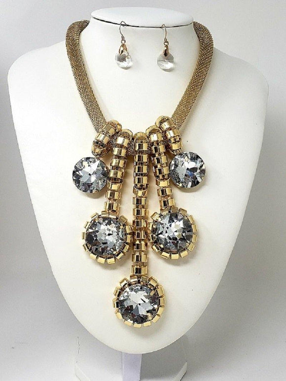 GOLD Necklace with Rhinestones and Matching Earrings ( 3171 )