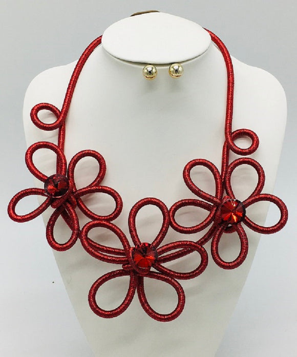 RED COIL WIRE NECKLACE SET RED STONES ( 3319 )