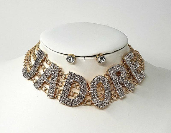 GOLD JADORE CHOKER SET WITH CLEAR STONES ( 3345 )