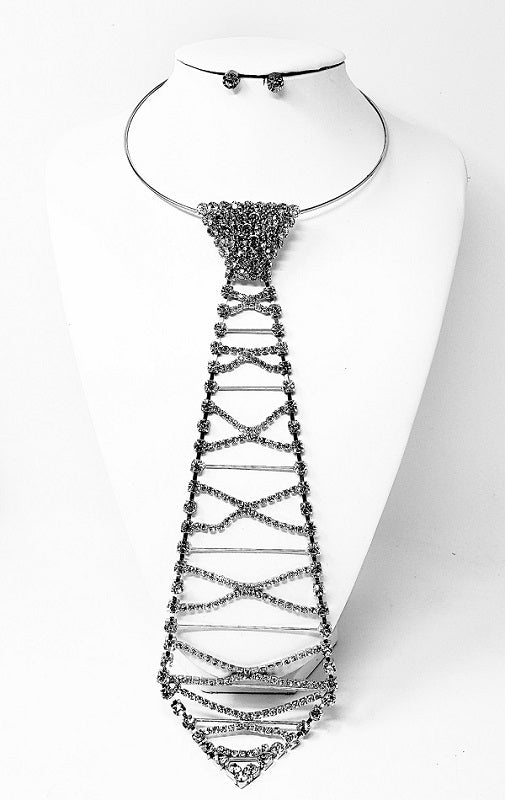 SILVER AND CLEAR RHINESTONE CHOKER TIE NECKLACE ( 3355 )