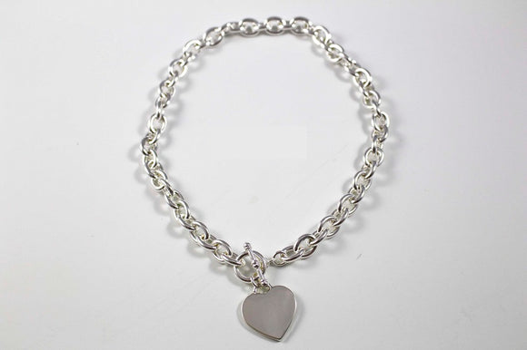 Silver Heart Charm Engraveable Silver Toggle Necklace ( 3945 )