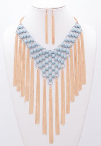 Blue Metal with Fringe Fashion Necklace
