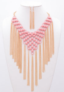 Pink Metal with Fringe Fashion Necklace