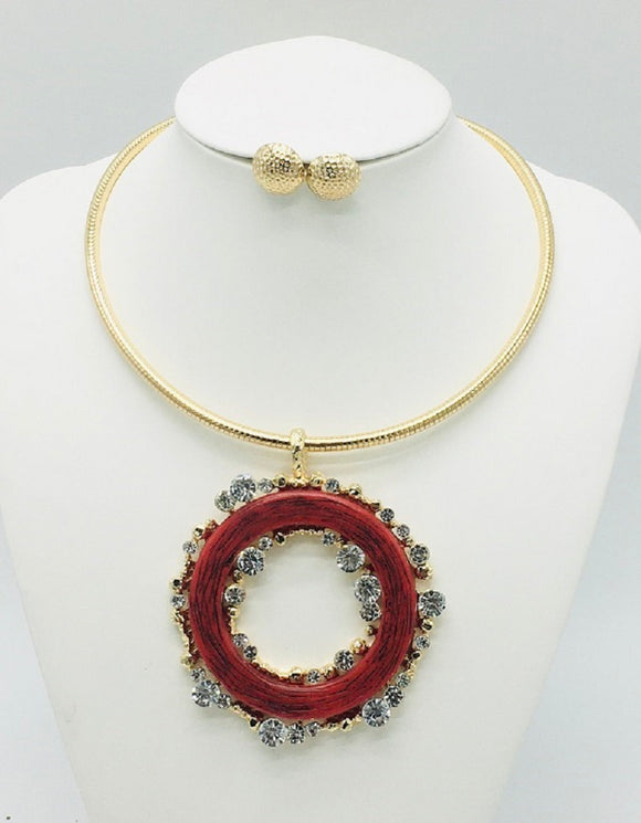 GOLD CHOKER SET RED RING CLEAR STONES ( 10014 )