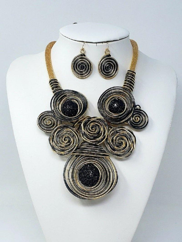 GOLD BLACK COIL WIRE NECKLACE SET ( 10040 GBK )