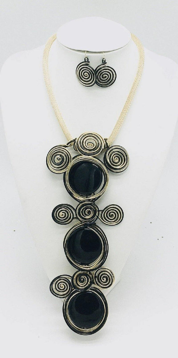 BLACK GOLD NECKLACE SET WIRE COIL ( 10049 GBK )