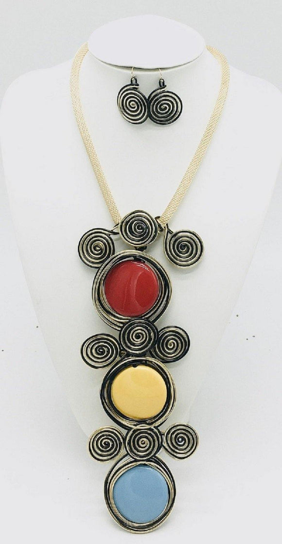 GOLD BLACK WIRE NECKLACE SET MULTI COLOR STONES ( 10049 GMT )