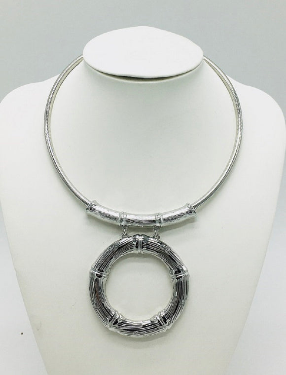 SILVER CHOKER NECKLACE SET BAMBOO ( 10063 R )