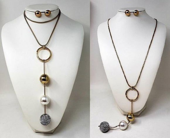 LONG GOLD NECKLACE SET BALLS CLEAR STONES ( 10064 G )