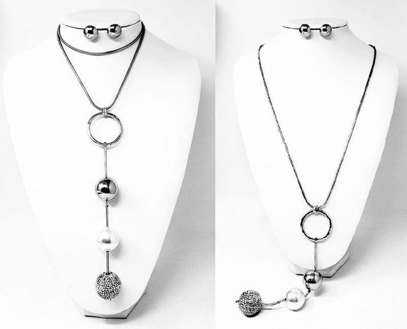 LONG SILVER NECKLACE SET BALLS CLEAR STONES ( 10064 R )
