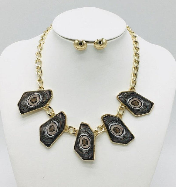 GOLD NECKLACE SET BROWN STONES ( 10065 GBR )