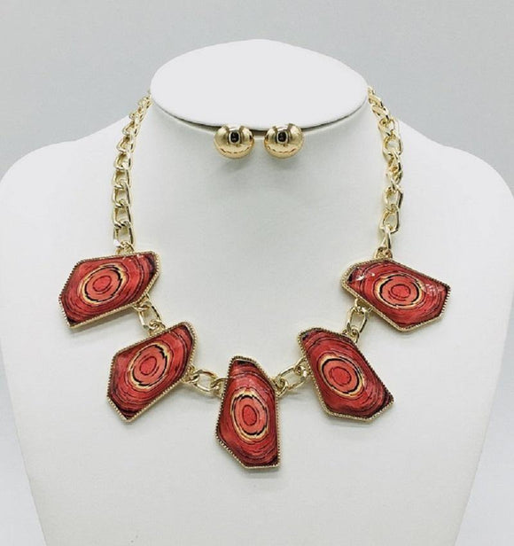 GOLD NECKLACE SET RED STONES ( 10065 GRD )