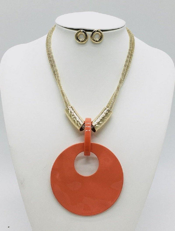 GOLD CORAL NECKLACE SET ( 10067 GCO )