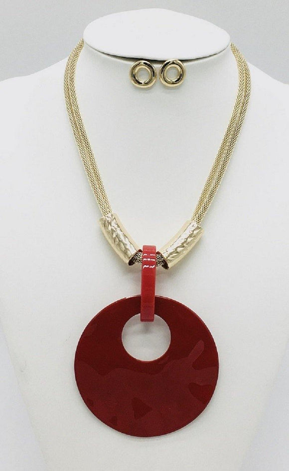 GOLD RED NECKLACE SET ( 10067 GRD )