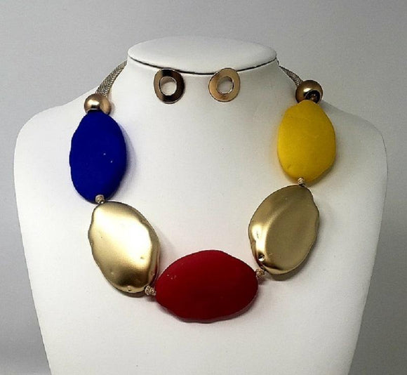 GOLD NECKLACE SET RED GOLD BLUE YELLOW STONES ( 10078 GMT )