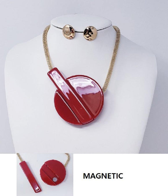 GOLD NECKLACE SET RED MAGNETIC PENDANT ( 10089 GRD )