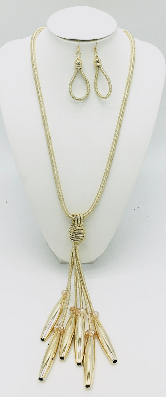 LONG COIL WIRE GOLD NECKLACE SET ( 10113 )