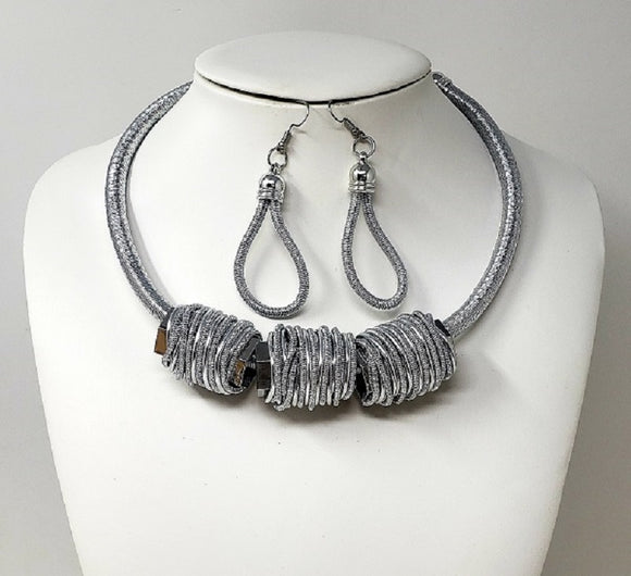 SILVER CHOKER NECKLACE SET WIRE COIL ( 10115 R )