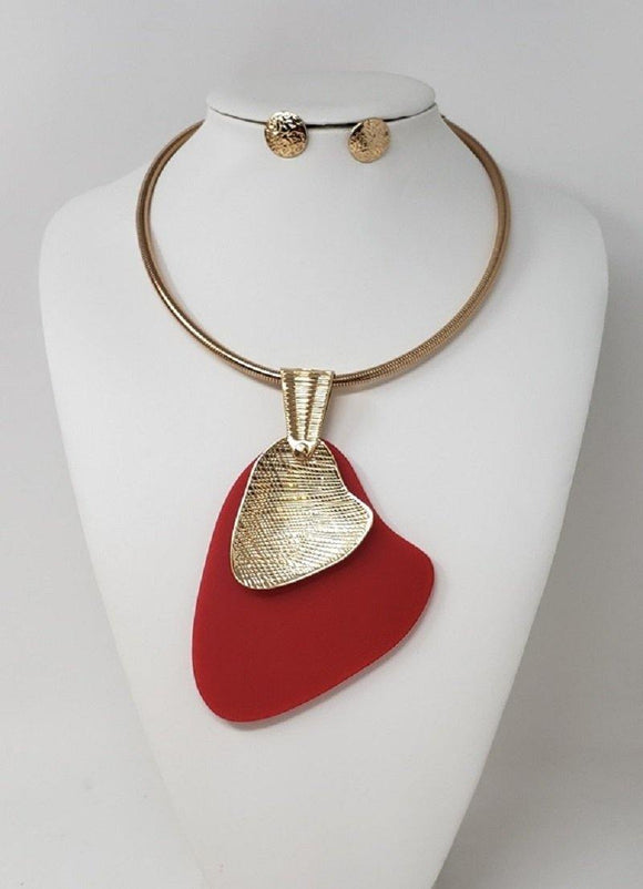 GOLD CHOKER NECKLACE SET RED PENDANT ( 10122 GRD )