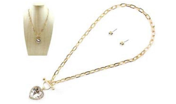 GOLD CLEAR HEART PENDANT ON CHAIN NECKLACE ( 6377 )